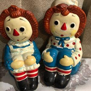 Raggedy Ann & Andy figurines.